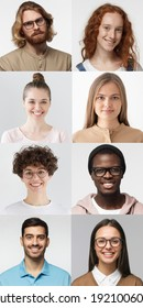 Collage of portraits and faces of multiracial group of various smiling people, good use for userpic and profile picture. Diversity concept