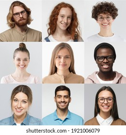 Collage of portraits and faces of multiracial group of various smiling young people, best use for userpic and profile picture. Diversity concept