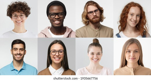 Collage of portraits and faces of multiracial group of various smiling people, good use for userpic and profile picture