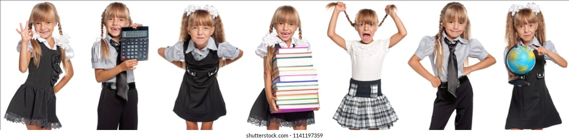 Collage of portraits of happy schoolgirl with backpack and books isolated on a white background. Back to school concept.