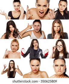 collage of portraits of various women. concept anger