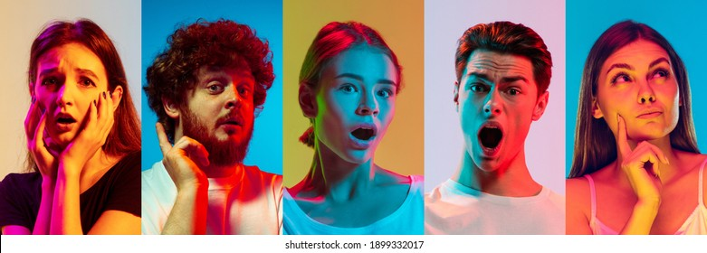 Collage of portraits of young emotional people on multicolored background in neon. Concept of human emotions, facial expression, sales. Shocked, wondered, astonioshed, disappointed. Flyer for ad - Shutterstock ID 1899332017