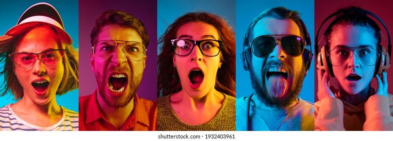 Collage of portraits of young emotional people on multicfarbred background in neon. Konzept der menschlichen Emotionen, Gesichtsausdruck, Verkauf. Erstaunlich schreiend, schockiert, Musik hören. Flyer für Werbung