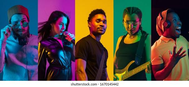 Collage of portraits of young emotional talentierte musicians on multicfarbene background in neon light. Konzept der menschlichen Emotionen, Gesichtsausdruck, Verkauf. Gitarre spielen, singen, tanzen.