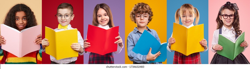 Collage of positive diverse kids in trendy clothes looking at camera while reading textbooks against colorful backgrounds