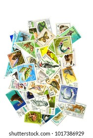 A collage of postage stamps on the theme of nature . To create a collage of used postage stamps of different countries with pictures of animals , birds and fish .