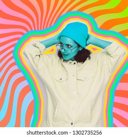 Collage poster art of fashion pretty blue alien girl in sunglasses, denim jacket and beanie hat on geometry background
