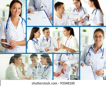 Collage of practitioners and patients in hospital