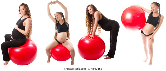 Collage of Pregnant fitness woman doing exercise on fit ball on white background   The concept of Sport and Health