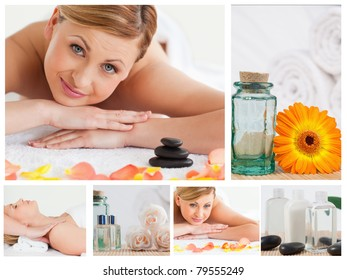 Collage of a pretty blond woman relaxing in a spa center