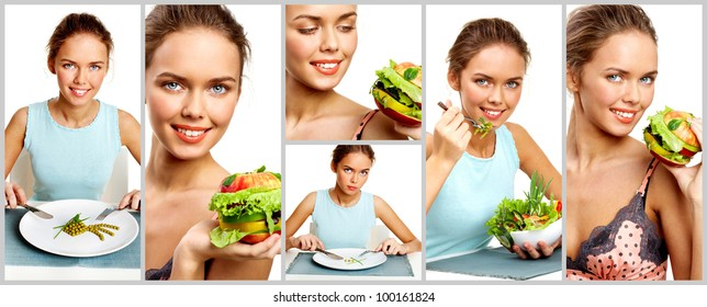 Collage of pretty young girl with vegetable salad, burger and pea starter
