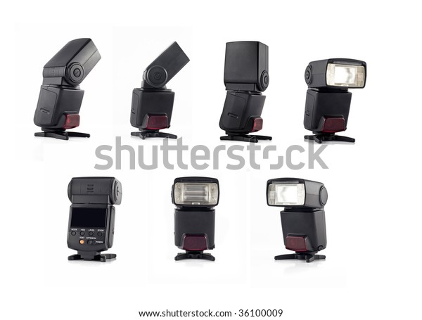 Collage Professional Flash On Stand Digital Stock Photo