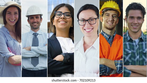 Collage professions, gardener, builder, engineer, doctor, business woman and farmer.