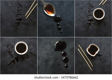 Collage with puddle of soy sauce on a black table.