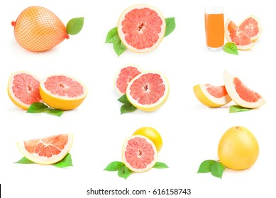 Collage of pumelo on a white background clipping path