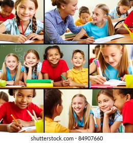 Collage of pupils and their teacher in classroom at lesson