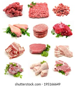 Collage of raw meats