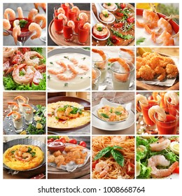 Collage with recipes for different shrimp dishes