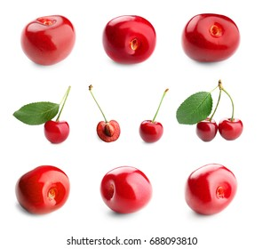 Collage of red cherries and green leaves on white background