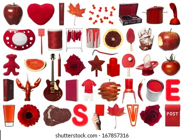 Collage of Red Objects on white background