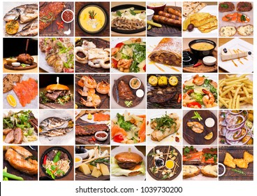 Collage of restaurant dishes