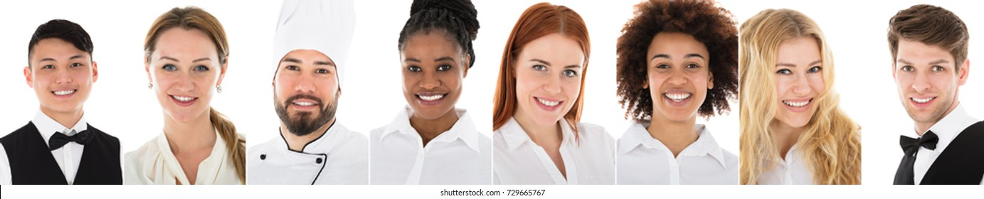 Collage Of Restaurant Workers Over White Background
