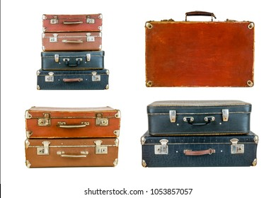 Collage of retro travel suitcases isolated on white. Set of old suitcases. Brown and black retro suitcase. Vintage baggage. Vintage travel bags.