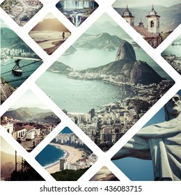 Collage of Rio de Janeiro (Brazil) images - travel background (my photos)