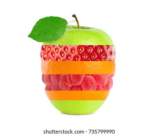 Collage of ripe fruit on white background. Stack of fruits. Concept