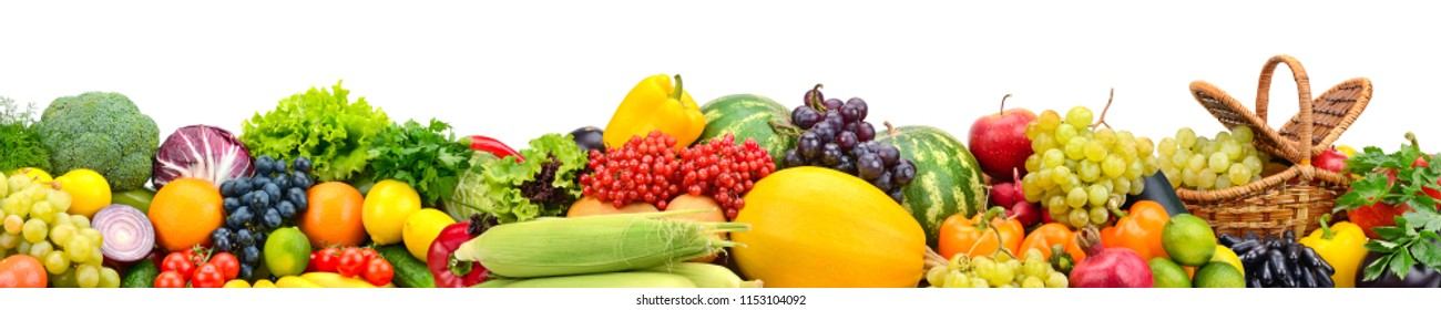 Collage and ripe fruits and vegetables isolated on white background. Free space for text.