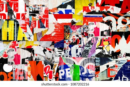 Collage ripped torn advertisement posters grunge creased crumpled paper texture background placard backdrop surface