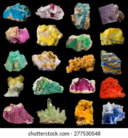 Collage of rocks and minerals isolated on black. The minerals are named in the keywords.