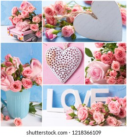 Collage from  romantic photos with pink roses flowers and hearts on textured background. Floral still life.  Selective focus.