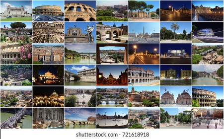 Collage with Rome letters with Colosseum, Trevi Fountain, Saint Peter Cathedral, Sant Angelo Bridge, Obelisk