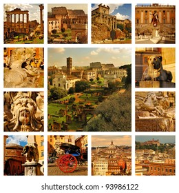 Collage Rome - Roma, Italy. Forum Romanum, Coliseum, Pantheon, fountains in Rome and panoramic view with roofs