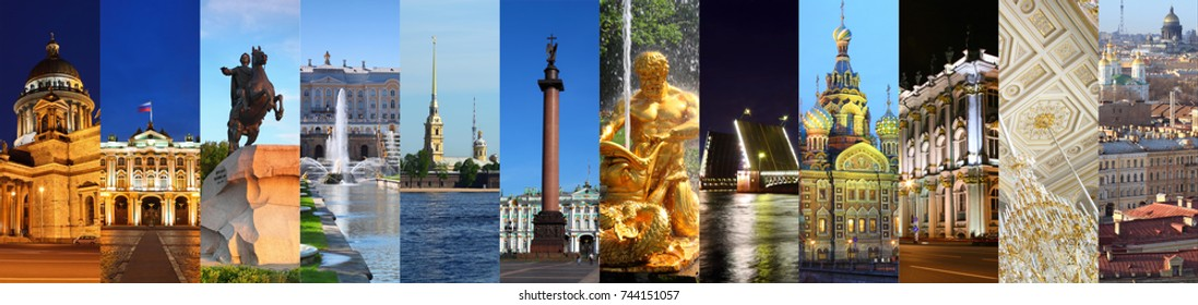 Collage with Saint-Petersburg views - Hermitage museum, Palace Bridge, Fountains of Petergof, Peter and Paul Fortress, St. Petersburg, Russia