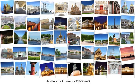 Collage with Saint-Petersburg views - Hermitage, Palace Bridge, Petergof, Kazan Cathedral, St. Isaac Cathedral, Alexander Column