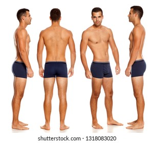 Collage of same shirtless handsome man in panties on white background