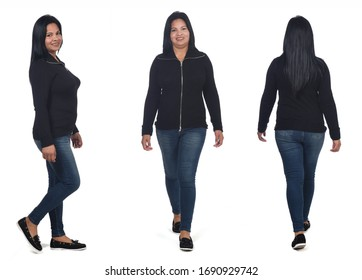 collage of same woman walking on white background