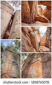 Collage of sandstone crevices in the cliffs of Cania Gorge Queensland Australia