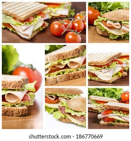 A collage of sandwich photos