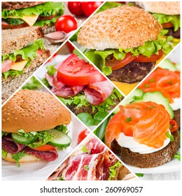 Collage of sandwiches with ham and salmon