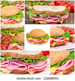 Collage of sandwiches with ham and vegetables