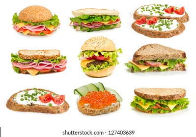 Collage of sandwiches with ham and vegetables on white background