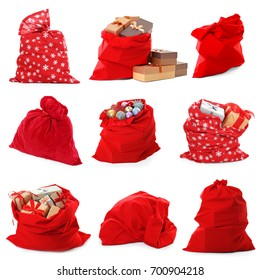 Collage of Santa's bags on white background