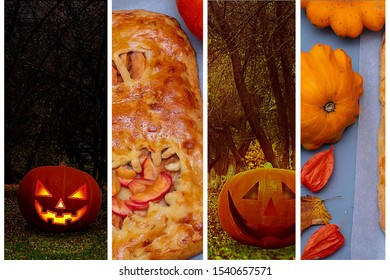 Collage of scary pictures for Halloween, different pumpkins and cake. Horizontal orientation