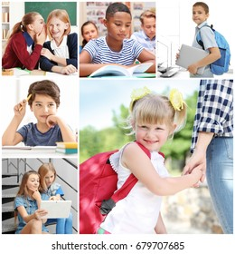 Collage with schoolchildren of different ages