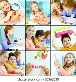 Collage of schoolchildren studying in class
