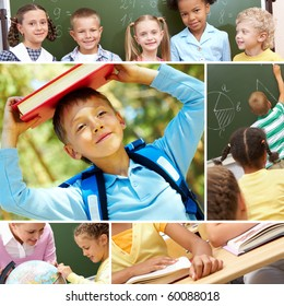 Collage of schoolchildren and studying process moments