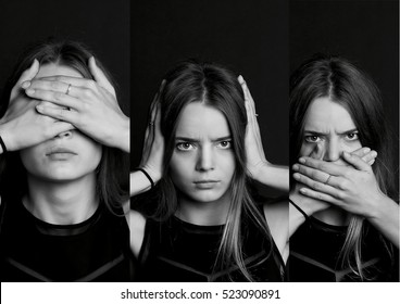 collage see no evil, hear , speak . . The girl with long hair in b W